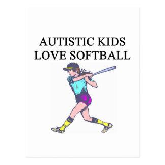 autistic kids love softball postcard