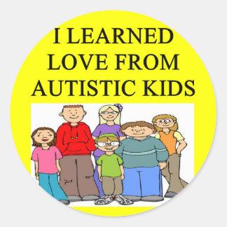 autistic kids love round stickers