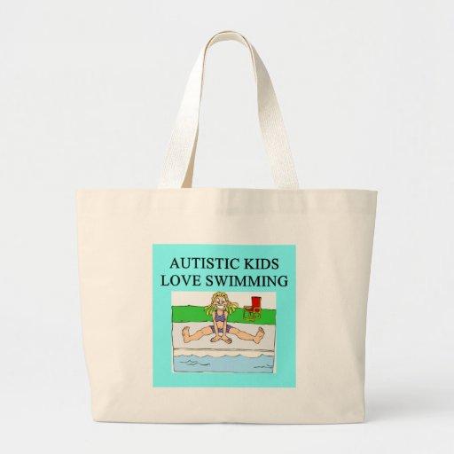 autistic kids love swimming jumbo tote bag