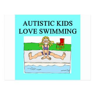 autistic kids love swimming postcard