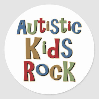 Autistic Kids Rock Tee Shirts and Gifts Classic Round Sticker