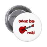 Autistic Kids Rock with Guitar (multiple colors) 2 Inch Round Button