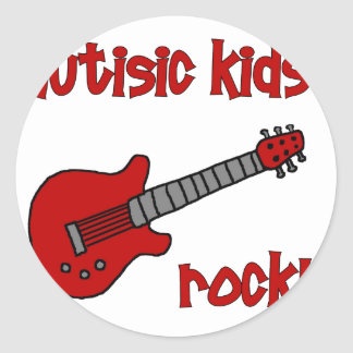 Autistic Kids Rock with Guitar (multiple colors) Classic Round Sticker
