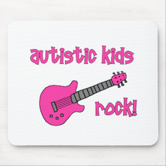 Autistic Kids Rock with Guitar (multiple colors) Mouse Pad