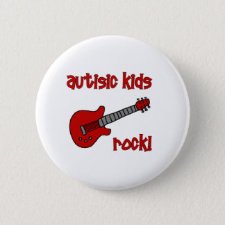 Autistic Kids Rock with Guitar (multiple colors) Pinback Button