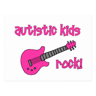 Autistic Kids Rock with Guitar (multiple colors) Postcard