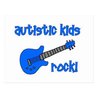 Autistic Kids Rock with Guitar (multiple colors) Postcard