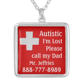 Autistic Lost Please Help Silver Plated Necklace