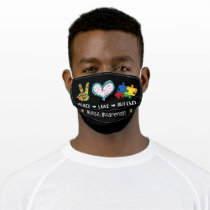 Autistic | Peace Love Autism Puzzle Piece Adult Cloth Face Mask