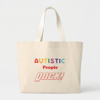 Autistic people rock! large tote bag