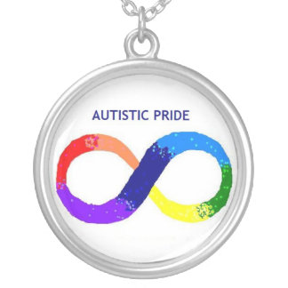Autistic Pride Necklace. Silver Plated Necklace