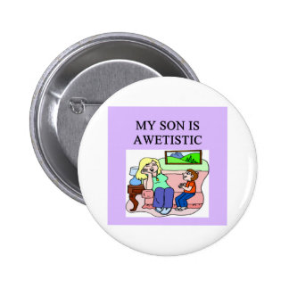 autistic son and mother button