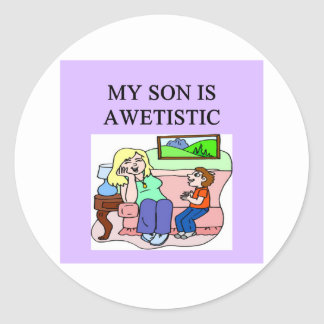 autistic son and mother classic round sticker