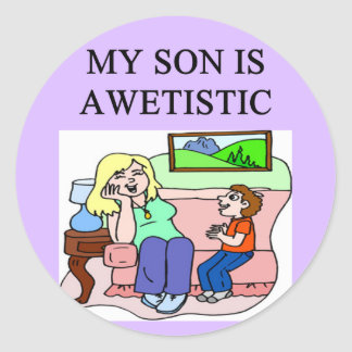 autistic son and mother stickers