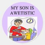 autistic son classic round sticker