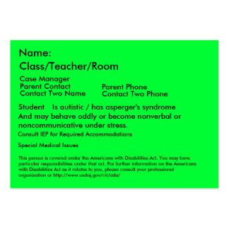Autistic Student Card Business Card Templates