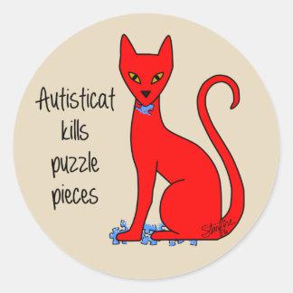 Autisticat Kills Puzzle Pieces Classic Round Sticker