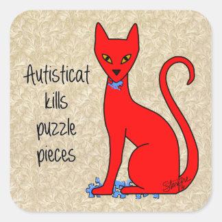 Autisticat Kills Puzzle Pieces Square Sticker