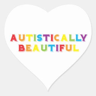 Autístico hermoso pegatina en forma de corazón
