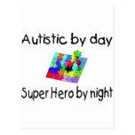 Autístico por el superhéroe del día por noche postal