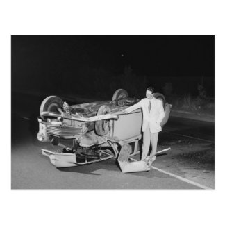 Auto Accident, Los Angeles, 1951 Vintage Postcard