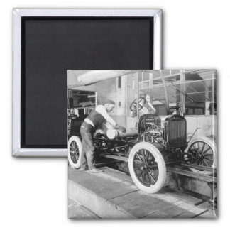 Auto Assembly Line, 1920s 2 Inch Square Magnet