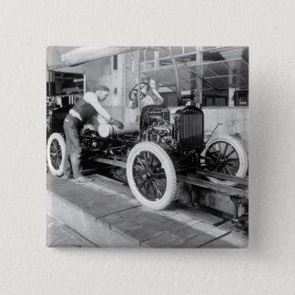 Auto Assembly Line, 1920s Pinback Button