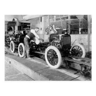 Auto Assembly Line, 1920s Postcard