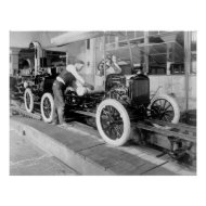 Auto Assembly Line, 1920s print
