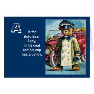 Auto Bear Andy - Letter A - Vintage Teddy Bear Card