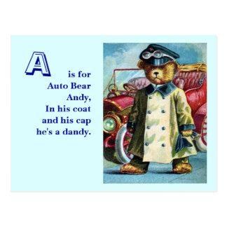 Auto Bear Andy - Letter A - Vintage Teddy Bear Postcard