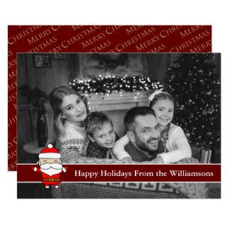 Auto Black and White Happy Holidays Cute Santa Card