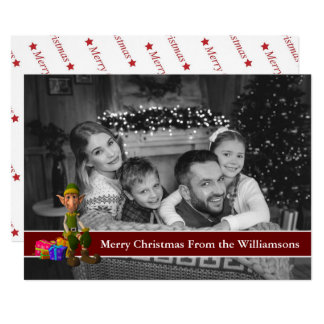 Auto Black and White Photo Elf and Red Text Band Card