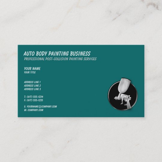 Auto Body Painting Cool Aqua Color Business Card