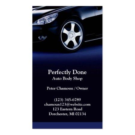 Stylish Blue Auto Body Shop Business Cards