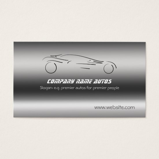 Auto Car on Brushed Steel - Sportscar Business Card