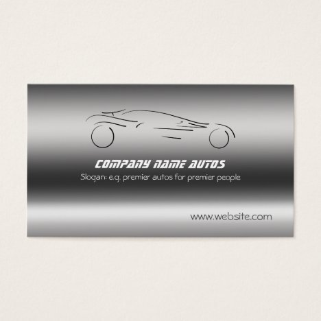 Auto Car on Brushed Steel - Sportscar template Business Card