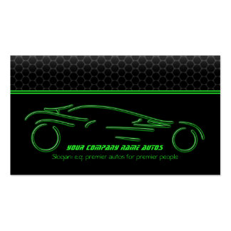 Auto Car on Metallic - Green line Sportscar Double-Sided Standard Business Cards (Pack Of 100)