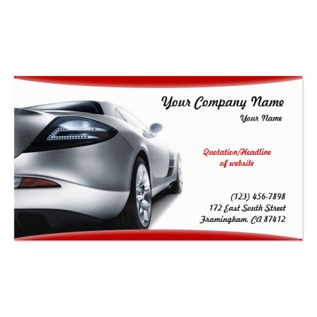 Silver Car on a Red and White Background Automotive Business Cards
