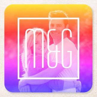 AUTO Color Filter of Your Photo & Monogram Ipanema Square Paper Coaster