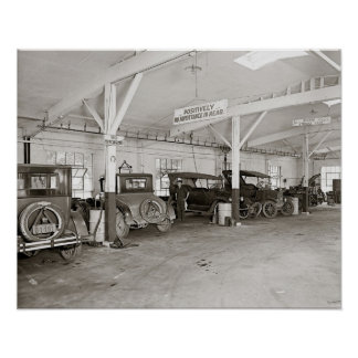 Auto Dealer Repair Shop, 1926. Vintage Photo Poster