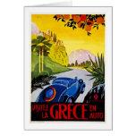 Auto del En de Grece del La de Visitez - poster Tarjeta De Felicitación