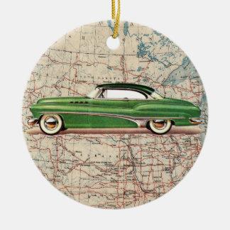 Auto del vintage de la ruta 66 - SRF Adorno De Navidad