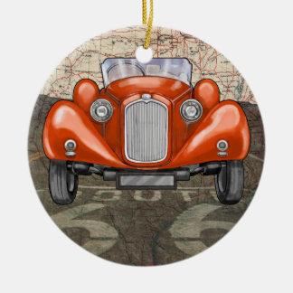 Auto del vintage de la ruta 66 - SRF Adornos De Navidad