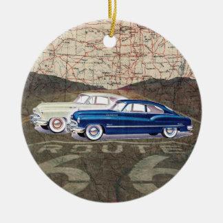 Auto del vintage de la ruta 66 - SRF Ornamento De Navidad