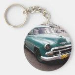 Auto del vintage en Cuba Llavero Redondo Tipo Pin