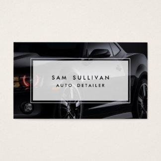 Auto Detailer Shiny Black Car Profile Automotive Business Card
