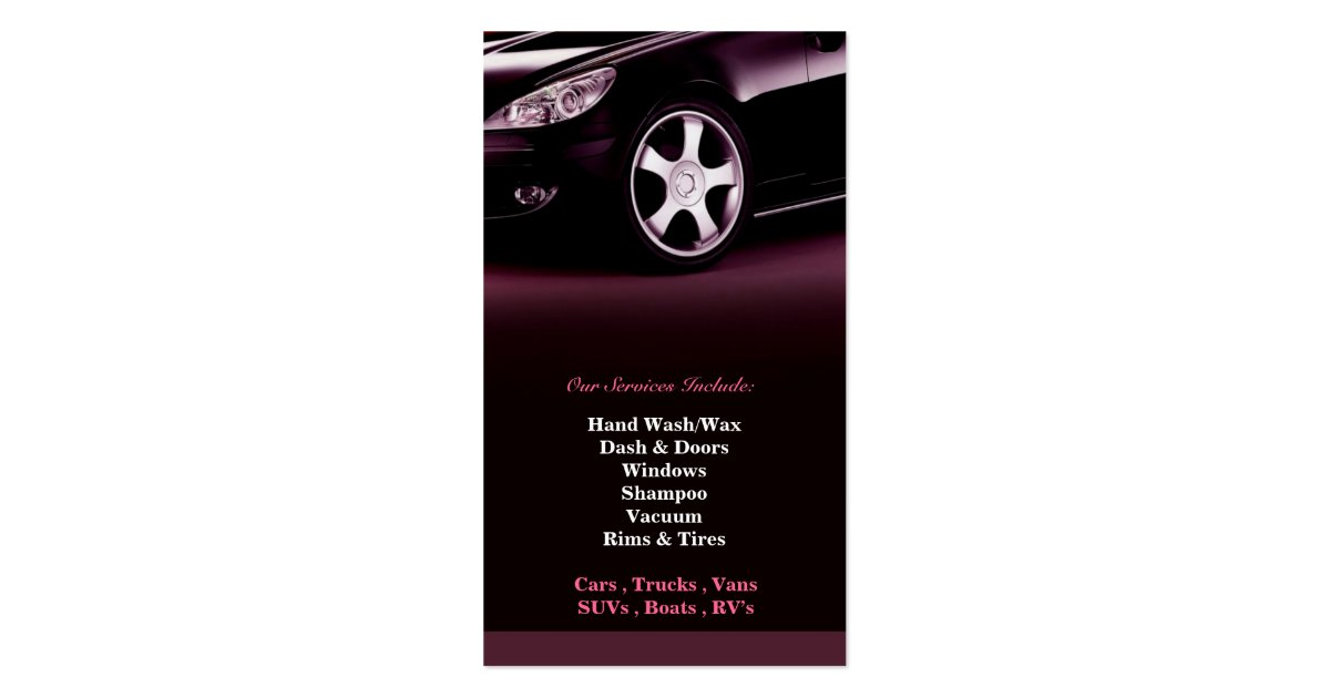 Auto detailing business card zazzle for Mobile auto detailing business cards