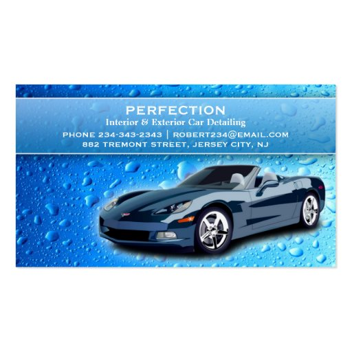 Auto detailing water drops business card zazzle for Auto detail business cards