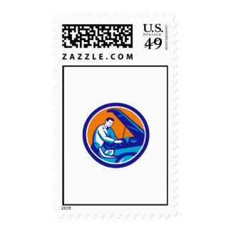 Auto Mechanic Car Repair Circle Retro Postage Stamp
